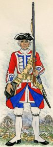 3rd Regiment of Foot Guards: Battle of Fontenoy on 11th May 1745 in the War of the Austrian Succession: picture by Mackenzies after Representation of Cloathing