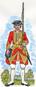 31st Foot: Battle of Dettingen fought on 27th June 1743 in the War of the Austrian Succession: Mackenzie after Representation of Cloathing 1742