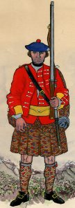 The Highland Regiment: Battle of Fontenoy on 11th May 1745 in the War of the Austrian Succession: picture by Mackenzies after Representation of Cloathing