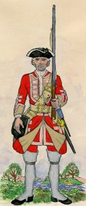 Howard's 3rd Old Buffs: Battle of Lauffeldt 21st June 1747 in the War of the Austrian Succession: picture by Mackenzies from Representation of Cloathing