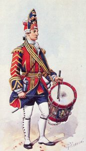 Drummer of the 1st Foot Guards: Battle of Fontenoy on 11th May 1745 in the War of the Austrian Succession