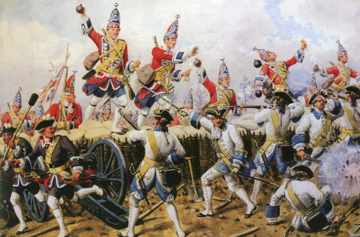 Grenadiers of the 1st Guards storming the sunken roadway: Battle of Fontenoy on 11th May 1745 in the War of the Austrian Succession