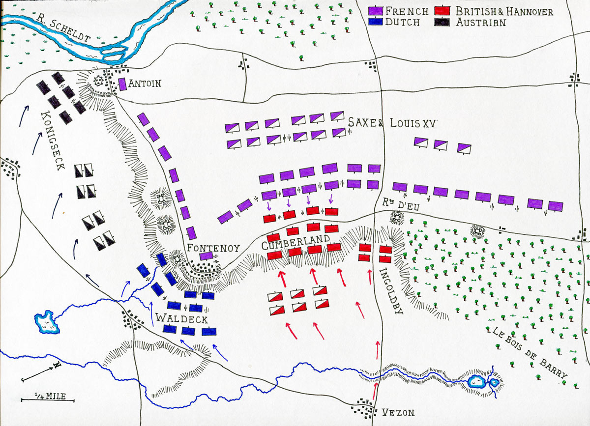 Map of the Battle of Fontenoy on 11th May 1745 in the War of the Austrian Succession: map by John Fawkes