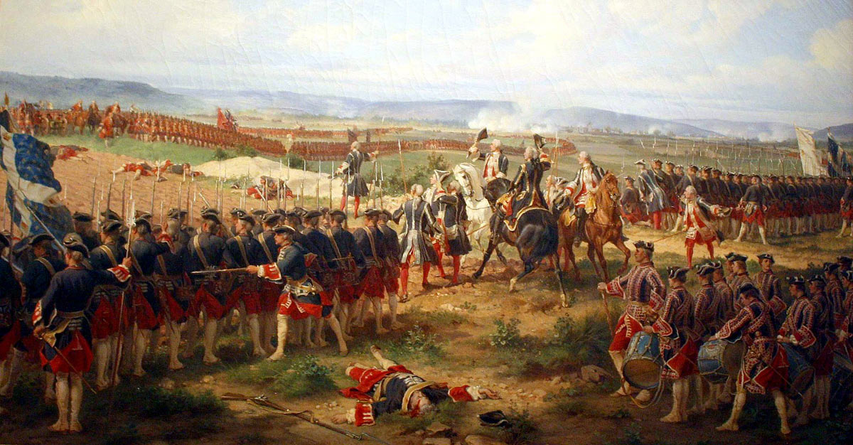 Lord Charles Hay of the First Foot Guards challenges the Gardes Francaises at the Battle of Fontenoy on 11th May 1745: picture by Edouard Detaille: click here to buy this picture