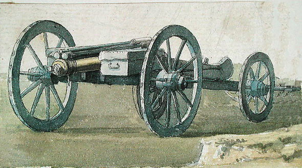 British 6 pounder cannon: Battle of Lauffeldt 21st June 1747 in the War of the Austrian Succession: picture by Thomas Sandby war artist to the Duke of Cumberland