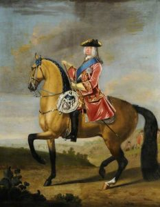 King George II at the Battle of Dettingen on 27th June 1743 in the War of the Austrian Succession: picture by John Wootton: click here to buy this picture