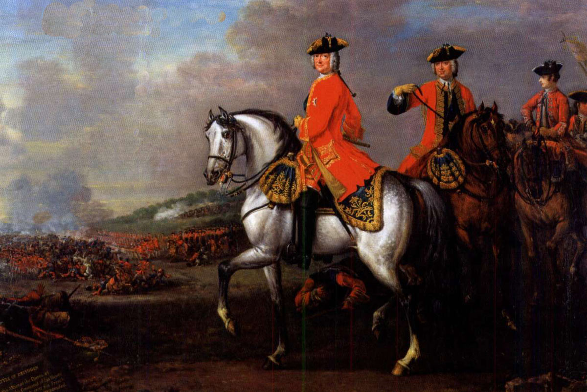 King George II with the Duke of Cumberland at the Battle of Dettingen on 27th June 1743 in the War of the Austrian Succession: picture by John Wootton: click here to buy this picture