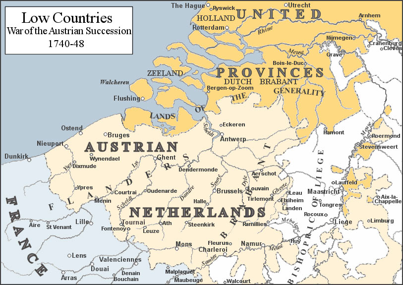 The 'Low Countries' in the War of the Austrian Succession 1740 to 1748