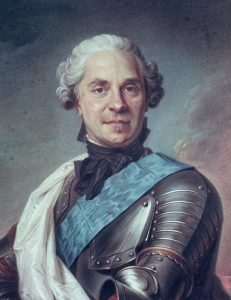 Marshal Maurice de Saxe commander of the French Army at the Battle of Fontenoy on 30th April 1745 in the War of the Austrian Succession: picture by de la Tour: click here to buy this picture