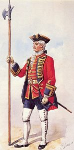 Sergeant 1st Foot Guards: Battle of Lauffeldt 21st June 1747 in the War of the Austrian Succession: picture by Richard Simkin