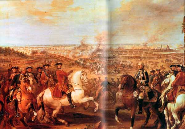 The Battle of Fontenoy King Louis XV points at the victorious Marshal Saxe