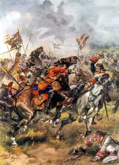 The charge of Bland's King's Own Dragoons at the Battle of Dettingen