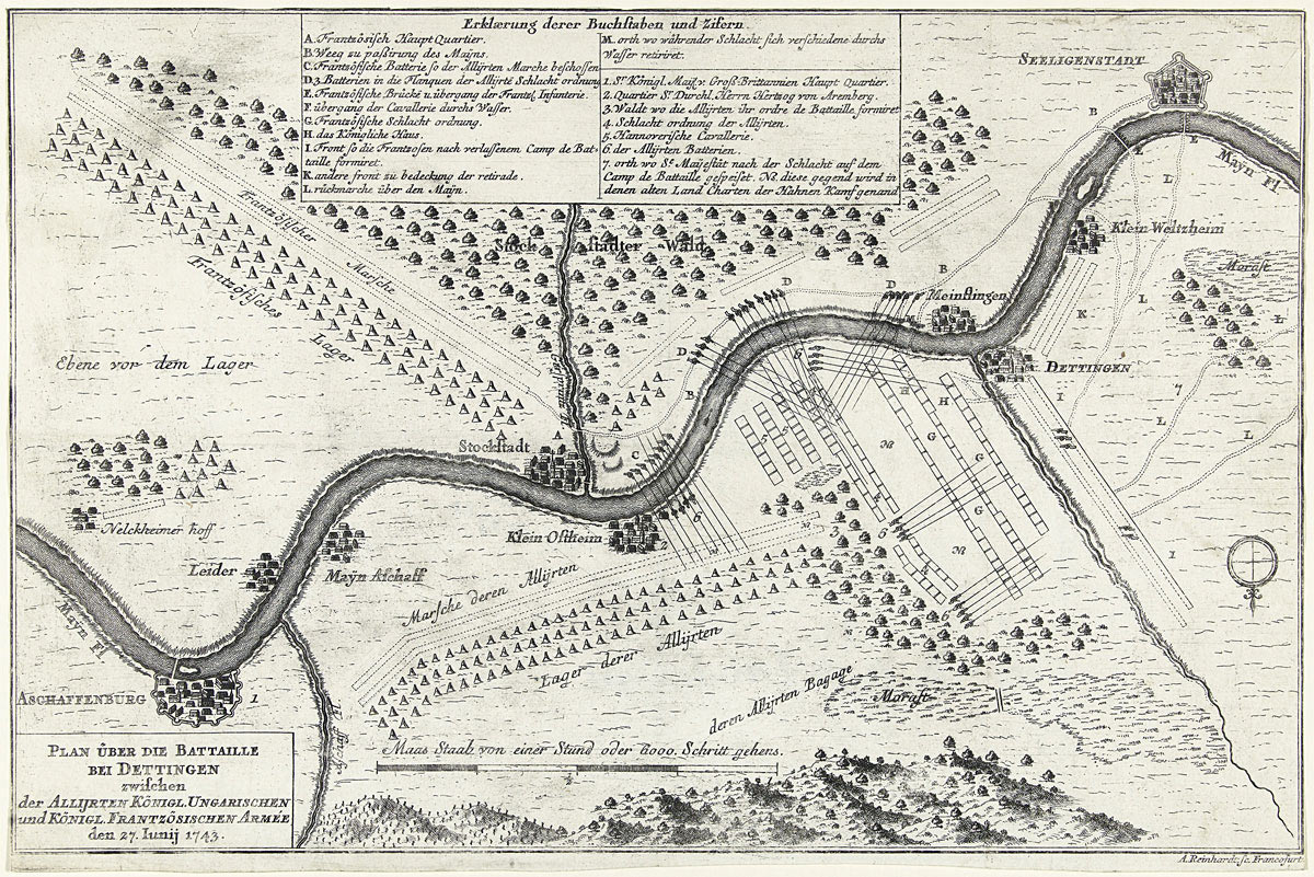 Map of the Battle of Dettingen on 27th June 1743 in the War of the Austrian Succession: map by Andreas Reinhard (II) of Frankfurt am Main item the Rijksmuseum in Amsterdam