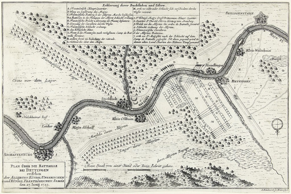 Map of the Battle of Dettingen: by Andreas Reinhard (II) of Frankfurt