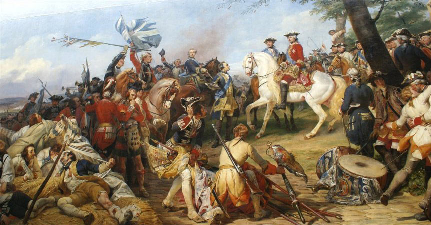 Marshal Maurice de Saxe the victor of the Battle of Fontenoy on 11th May 1745 in the War of the Austrian Succession: picture by Horace Vernet: click here to buy this picture