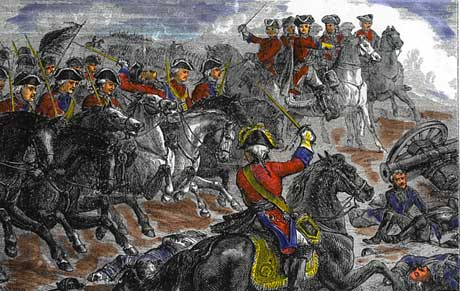 King George II at Dettingen, as his Horse Guards charge the French Maison du Roi