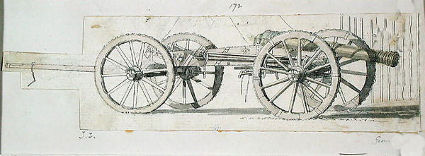 British 6 pounder cannon and limber: Battle of Lauffeldt 21st June 1747 in the War of the Austrian Succession: picture by Thomas Sandby war artist to the Duke of Cumberland