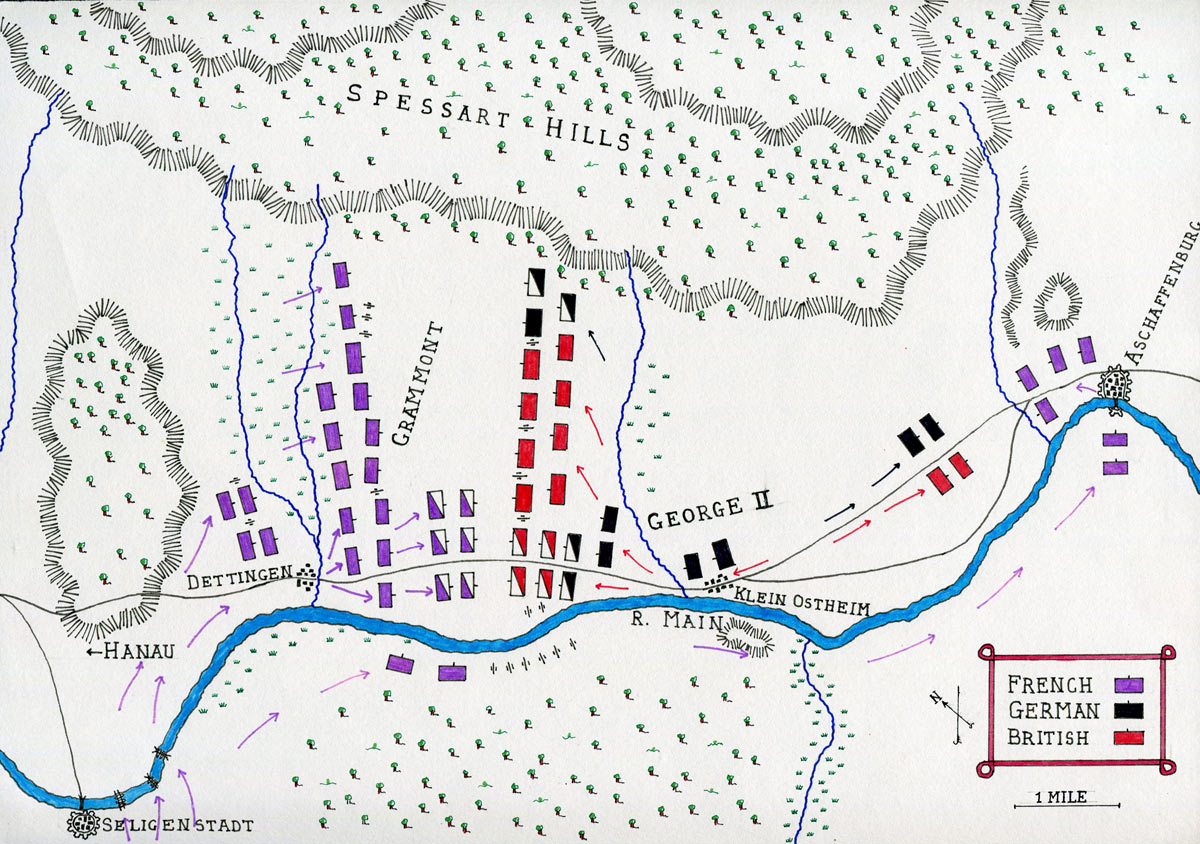 Map of the Battle of Dettingen fought on 27th June 1743 in the War of the Austrian Succession: map by John Fawkes