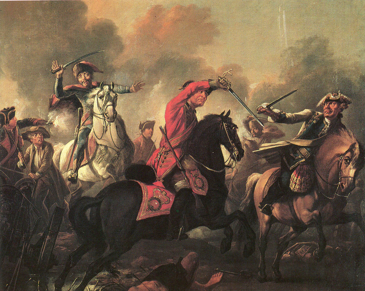 Dragoon Thomas Brown of the Bland's King's Own Royal Dragoons: Battle of Dettingen fought on 27th June 1743 in the War of the Austrian Succession: picture by
