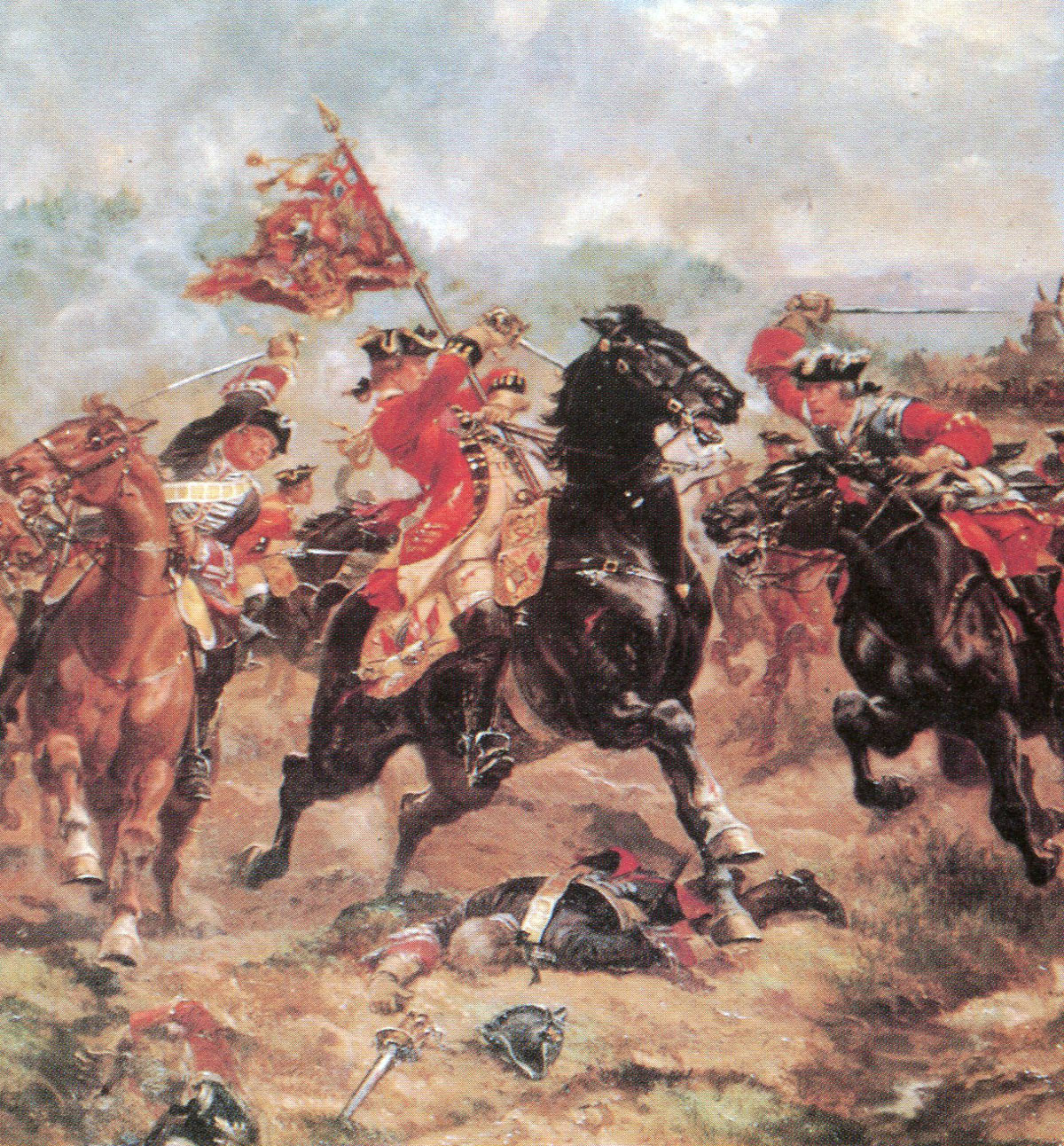 Cornet Richardson rescuing the standard of the 7th Horse: Battle of Dettingen fought on 27th June 1743 in the War of the Austrian Succession