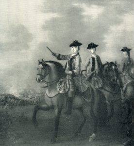 Duke of Cumberland at the Battle of Lauffeldt 21st June 1747 in the War of the Austrian Succession: General Sir John Ligonier is on the right with Lord Henry Campbell in the centre