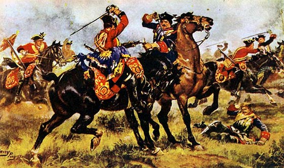 "The King's Horse charging the Maison du Roi at Dettingen : ""The fight for the Standard"""