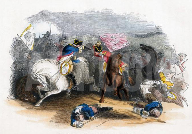 Ligonier's 8th Horse at the Battle of Dettingen fought on 27th June 1743 in the War of the Austrian Succession: click here to buy this picture