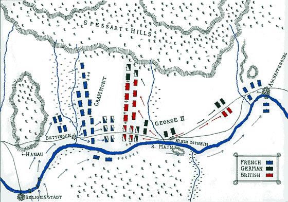 Map of The Battle of Dettingen by John Fawkes