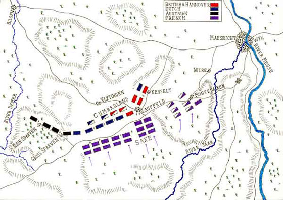 Map of the Battle of Lauffeldt