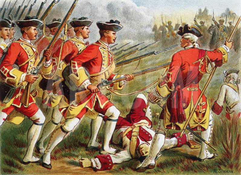 British regiment of foot: Battle of Lauffeldt 21st June 1747 in the War of the Austrian Succession: picture by Richard Simkin