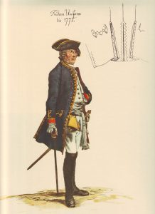 Prussian Infantry Regiment von Kalnein No 4: picture by Adolph Menzel as part of his series of pictures 'Die Armee Friedrichs des Grossen in ihrer Uniformierung'
