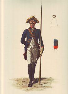 Prussian Infantry Regiment von Below No 11: picture by Adolph Menzel as part of his series of pictures 'Die Armee Friedrichs des Grossen in ihrer Uniformierung'