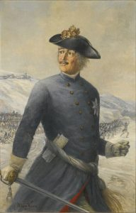 Leopold Prince of Anhalt-Dessau, the 'Old Dessauer': Battle of Kesselsdorf 15th December 1747: picture by Max Korn: click here to buy this picture