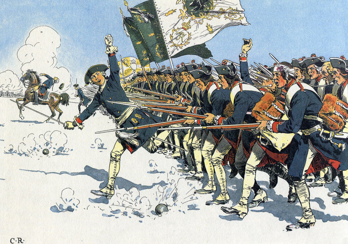 The Prussian infantry assault at the Battle of Mollwitz on 10th April 1741: picture by Carl Röchling: click here to buy this picture