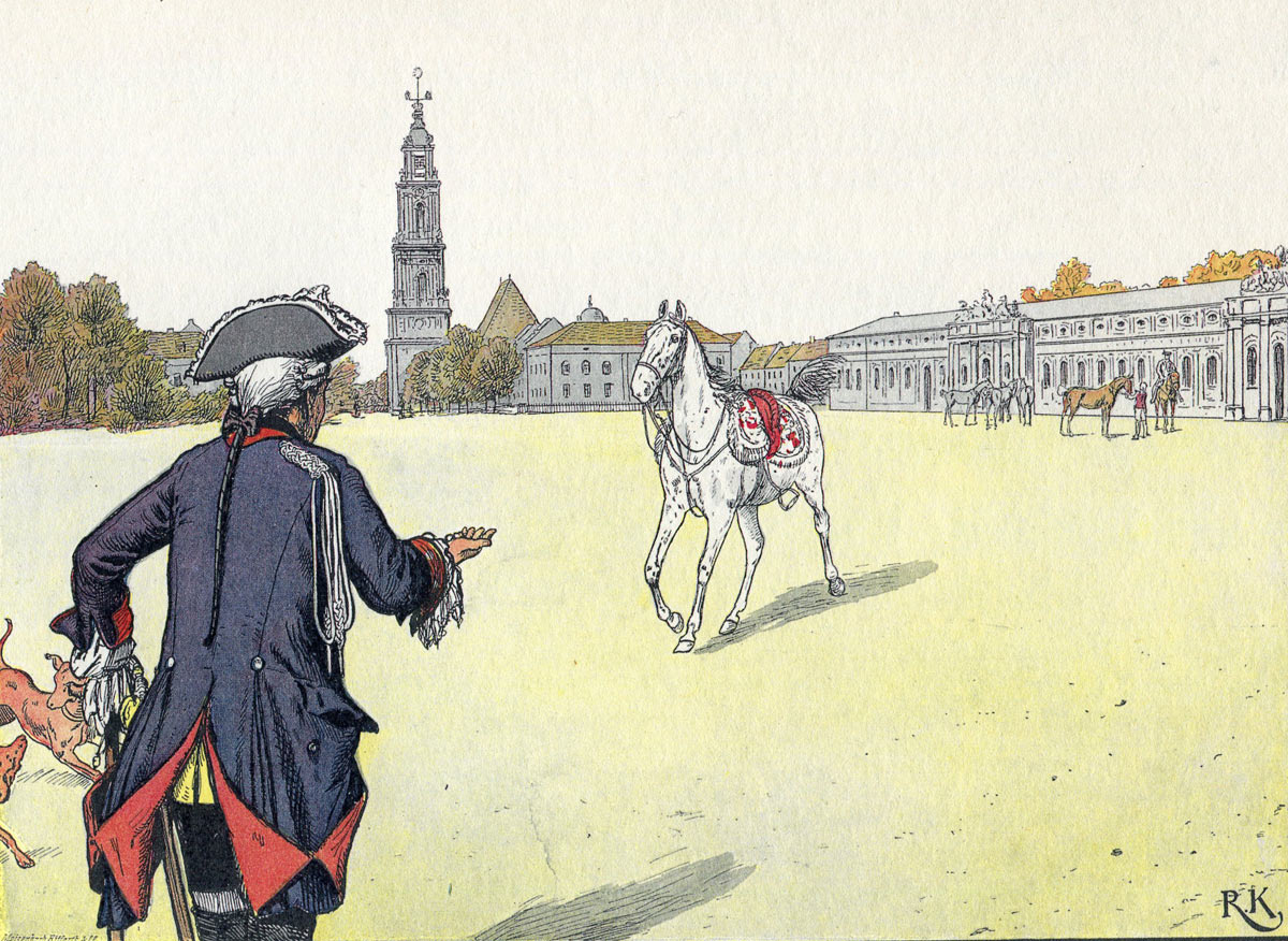 Frederick the Great greeting the Mollwitz Grey in later life: picture by Richard Knötel: click here to buy this picture