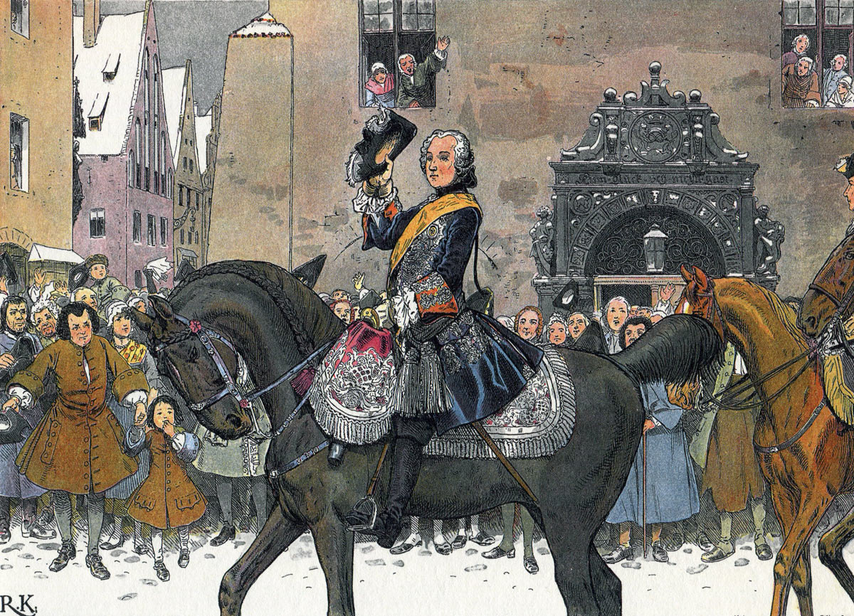 Frederick II King of Prussia enters Breslau, the capital city of Silesia after the Battle of Mollwitz on 10th April 1741: picture by Richard Knötel: click here to buy this picture