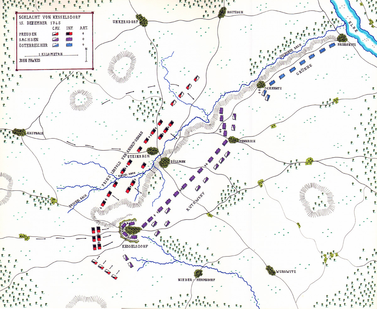 Map of the Battle of Kesselsdorf