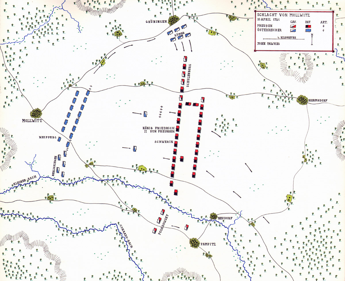 Map of the Battle of Mollwitz 10th April 1745 by John Fawkes