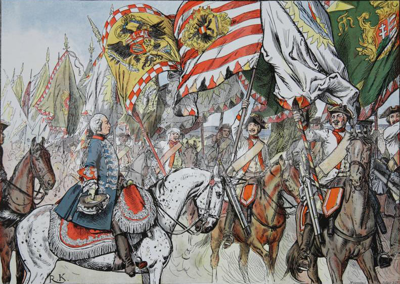 The Bayreuth Dragoons parade captured Austrian colours before Frederick the Great after the Battle of Hohenfriedberg 4th June 1745: Picture by Richard Knötel: click here to buy this picture
