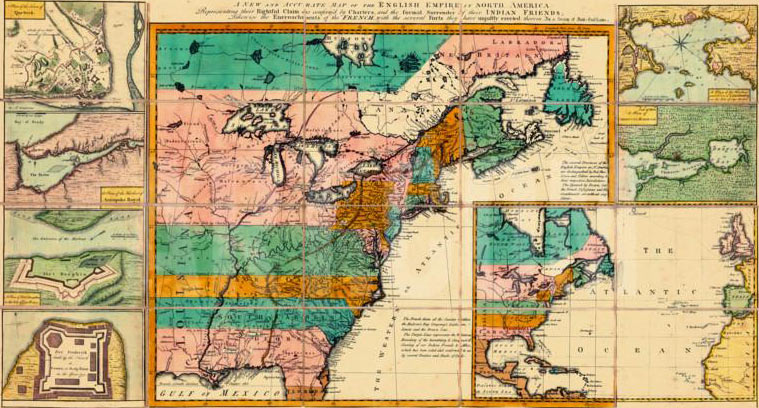 British colonies in North America with the principal fortifications in 1755: click here to buy this picture