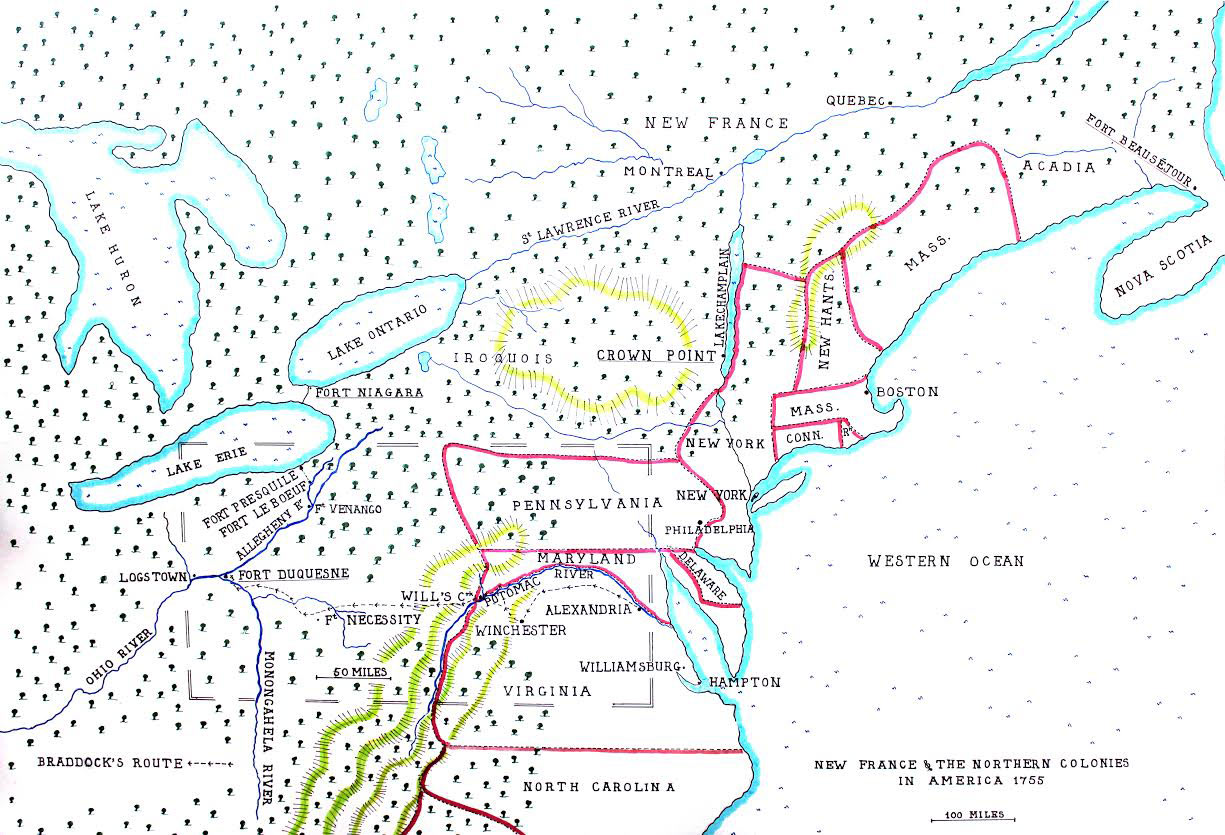 Map of the North American Colonies in 1755 showing the four intended targets for the British offensive operation: Fort Duquesne, Fort Niagara, Crown Point and Fort Beausejour: map by John Fawkes