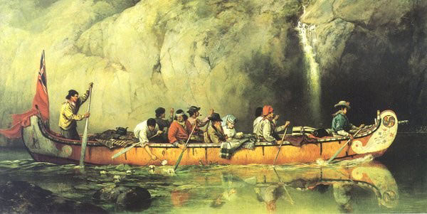 French 'voyageurs' and Native Americans navigating a North American river by canoe