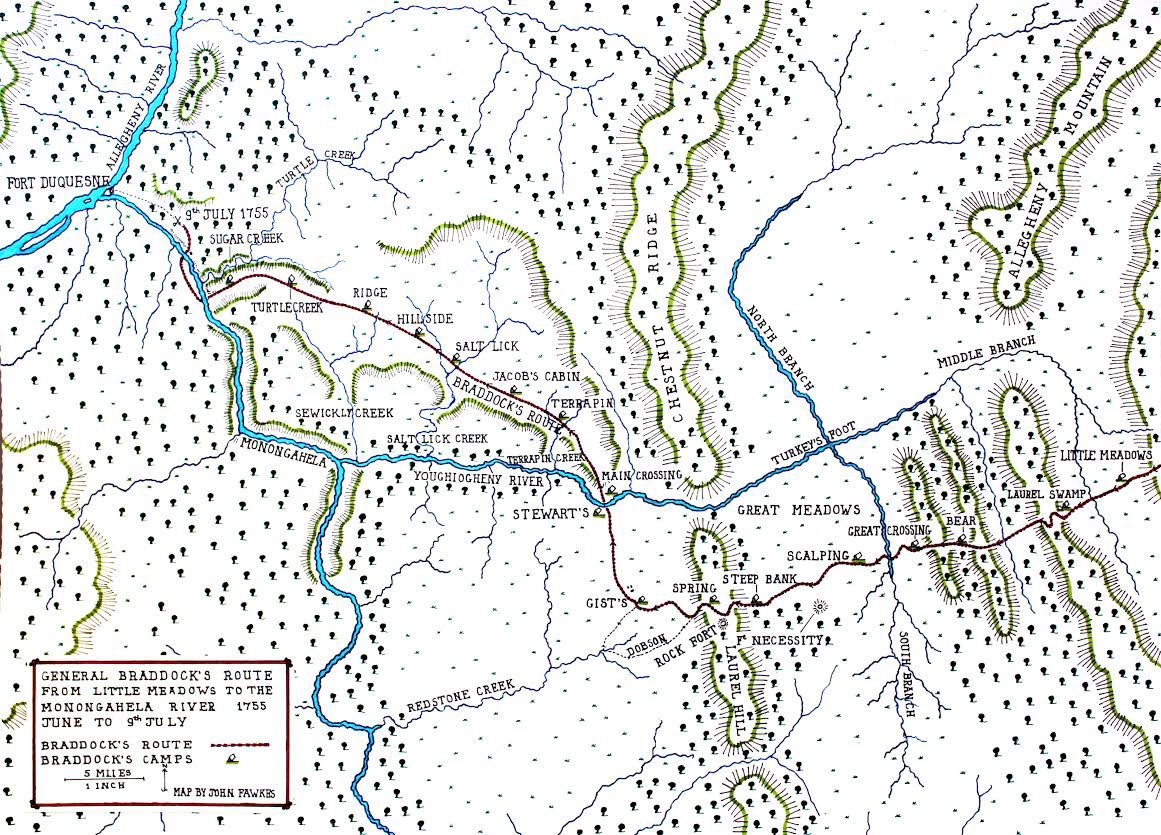 The route of General Braddock's army from Little Meadows to the scene of the battle by the Monongahela River on 9th July 1755