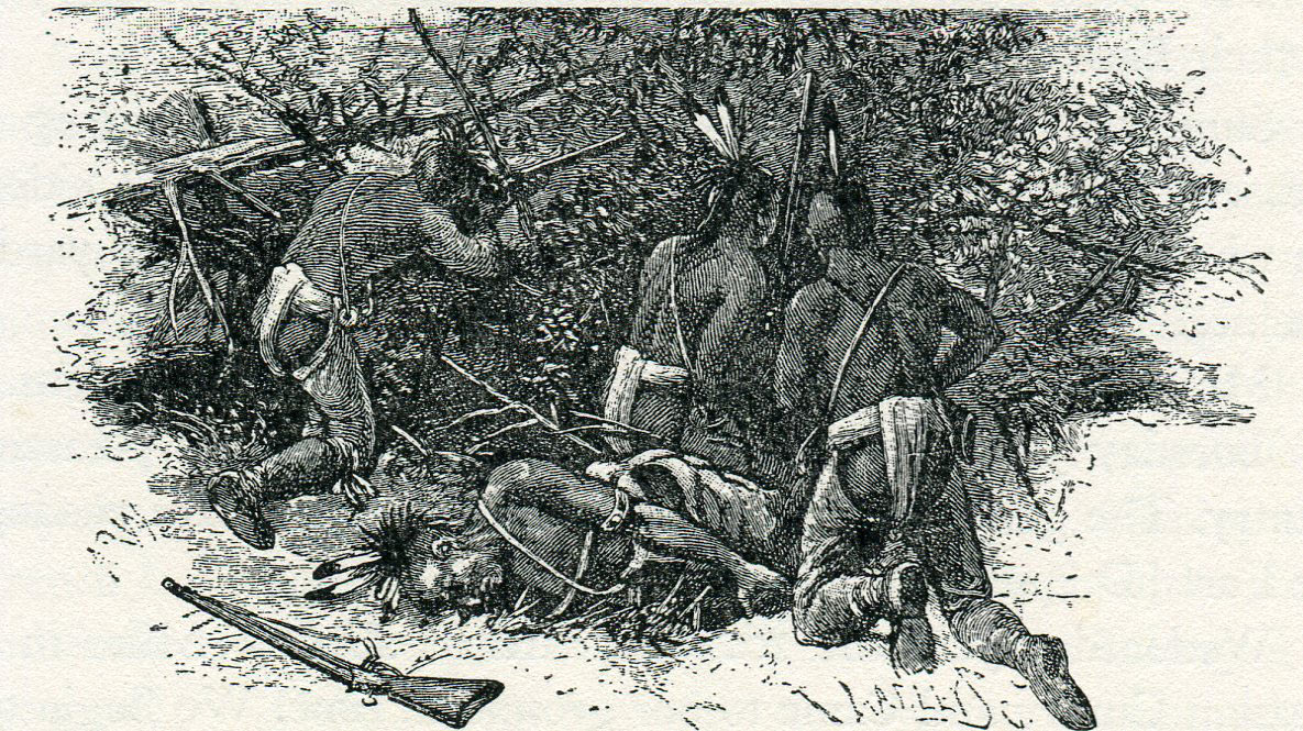 Native Americans in ambush during Braddock's march to the Monongahela in 1755