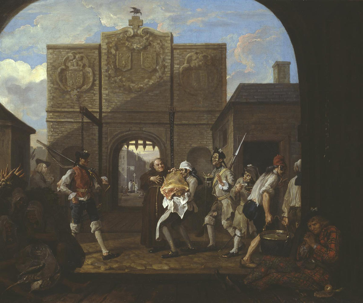 "William Hogarth's picture ""The Roast Beef of Old England"", painted in 1748, shows the gates of the French port of Calais. In the bottom right corner is a Scottish clansman, a fugitive from the Jacobite '45 Rebellion of Prince Charles Edward Stuart. The clansman is identified by his tartan garb and the white Jacobite cockade in his bonnet. The picture combines actuality with allegory. The lurking Jacobite no doubt was in evidence when Hogarth went on his sketching trip to Calais, but also represents the national fear of a renewed Jacobite insurgency launched from the continent of Europe: click here to buy this picture"