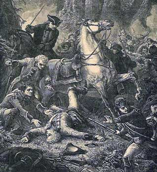 Major General Edward Braddock falls from his horse is mortally wounded