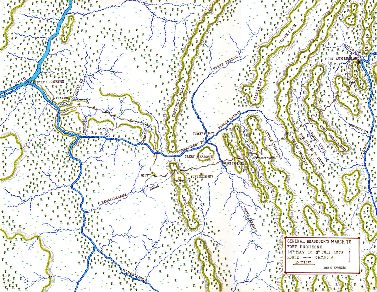 General Braddock's March to Fort Duquesne 29th May - 9th July 1755