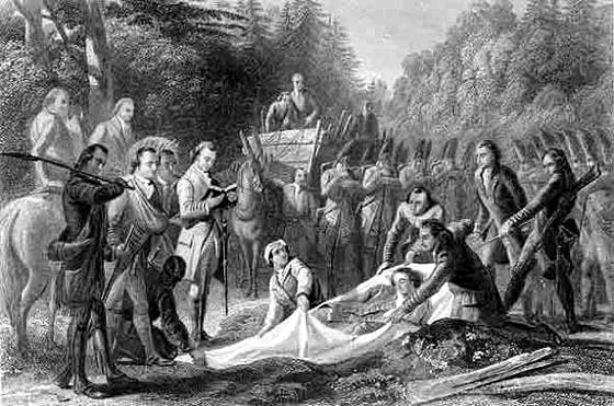 Burial of Major General Edward Braddock after the battle on the Monongahela