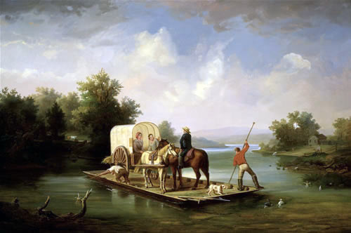 A ferry crossing a river