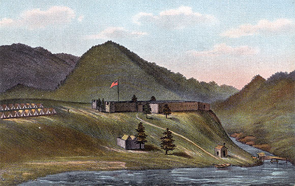 Fort Cumberland in 1755 (mistakenly given a USA Flag): the Potomac is in the foreground with Will's Creek on the right